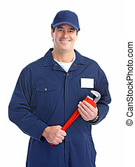 plumber worker - Mature handsome plumber worker with...