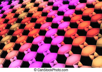 color hexagon panel - light show of multiple colors hexagon...