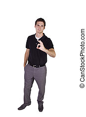 Businessman giving the OK sign - Isolated Businessman...