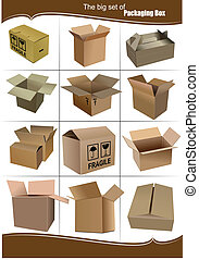 Big Set of carton packaging boxes isolated over a white...