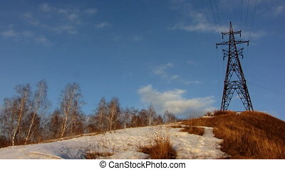 Power Lines 11 - Time lapse of running clouds with...