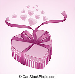 Valentine gift box with satin bow and glossy hearts