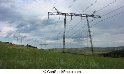 Power Lines 12 - Electricity pylon energy time-lapse Grey...