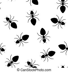 Seamless texture - ants pests on a white background