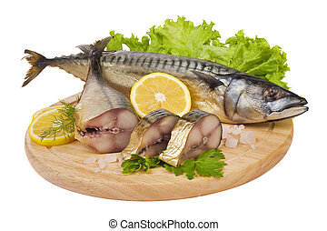 A composition with mackerel fish on wooden plate isolated on...