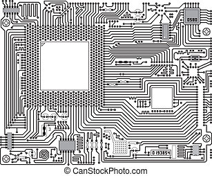 Vector circuit board - industrial b - Monochrome vector...