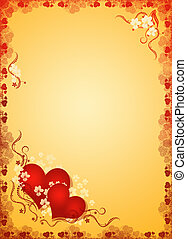 valentines hearts in golden blank - abstract valentines...