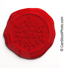 Red wax seal - Snowflake wax seal 3D image