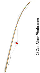 Fishing tackle pole isolated on white background with...
