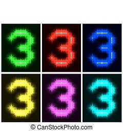 Set a glowing symbol of the number 3