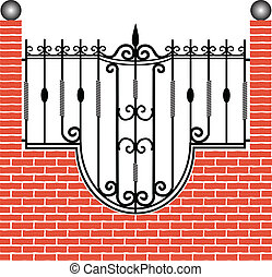Fence of brick and iron