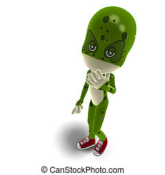 funny and cute cartoon creature. 3D rendering with clipping path and shadow over white