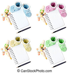 baby bootee with note pad