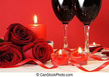 Heart Candles, Red Roses and Wine