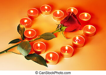 Candles Heart and Rose