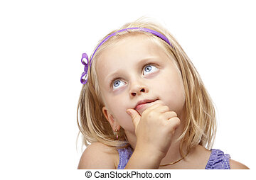 Contemplative young girl looks up Isolated on white...
