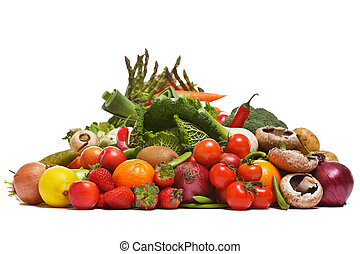 Fruit and vegetables isolated on a white background.