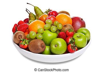 tazón, fresco, fruta, aislado, blanco