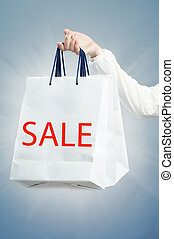 shopping bag - The shopping bag on the blue background
