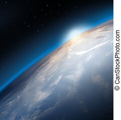 Earth - Planet Earth Space Global View and Sun in the...