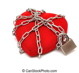 love locked heart shape with chains on white