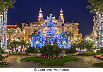 Christmas decorations in Monaco, Montecarlo,France -...