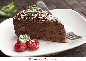 Chocolate dessert - A piece of chocolate and raspberry torte...