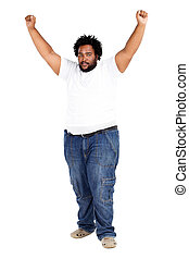 african american man arms up - overweight african american...