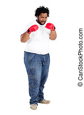 african american man boxing