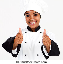 african american chef thumbs up - female african american...