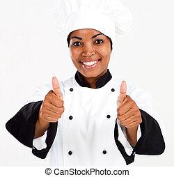africano, norteamericano, Chef, pulgares, Arriba