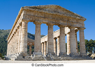 Ruins of Doric Temple in Archaeological Park Segesta