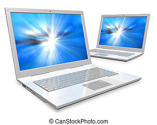 Two white laptops - Laptops: networking and mobility concept