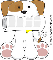 Puppy Love Newspaper - A cute puppy is holding a newspaper...