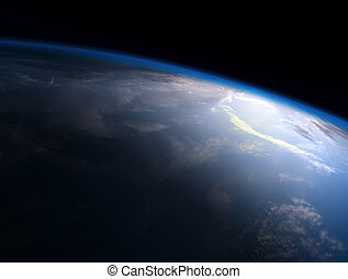 planet earth - Planet Earth Space Global View and Sun in the...