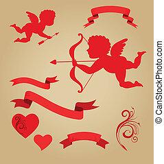 Valentines, gráfico, elementos