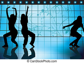 Dancing Girls On a Blue Background - Colored illustration,...