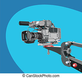 dv-camcorder on crane - art illustration of dv-cam camcorder...