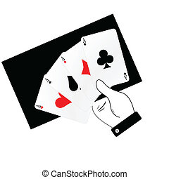 poker aces in hand illustration