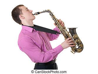 homme, jeux, saxophone