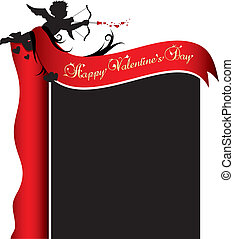 Valentines day background - Cupid silhouette with red ribbon...