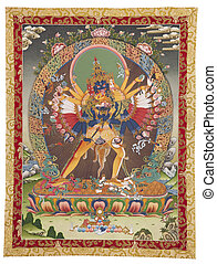 Tibetan thangka with Kalachakra - Inner part (cut out) of...