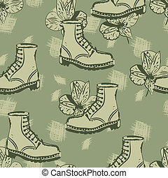 vector seamless grunge background with boots and flowers,...