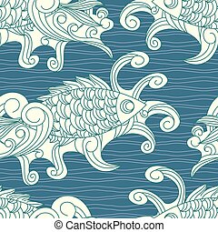 vector seamless pattern with koi carp fishes - vector...