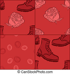 a set of vector seamless grunge background with boots and...