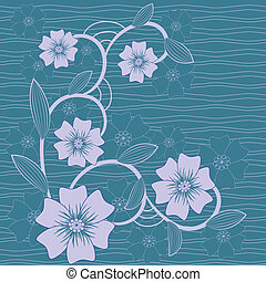 vector background with  flowers in blue