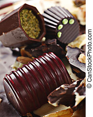 Chocolate candy group detail background with nut