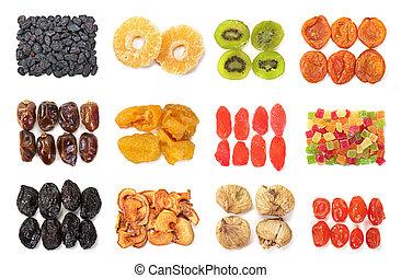 Dry fruit mix set isolated on white background