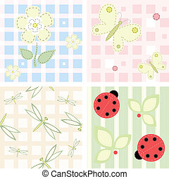 Vector seamless backgrounds - Set - vector seamless...