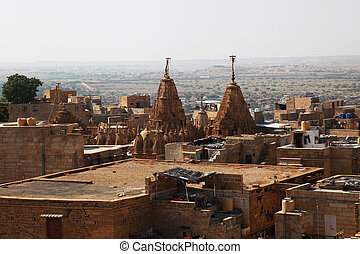 Jaisalmer Rajasthan - view at the roof of the Jain Temple in...